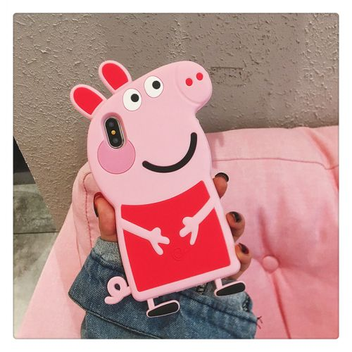 Coque silicone cartoon pour iPhone X en 3D - Peppa Pig style