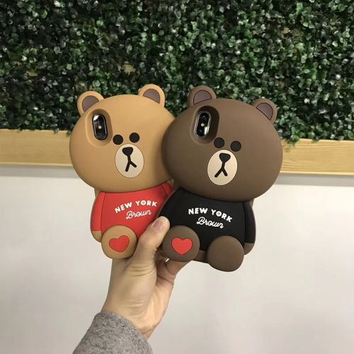 Coque silicone pour iPhone X en 3D - Brown Bear style