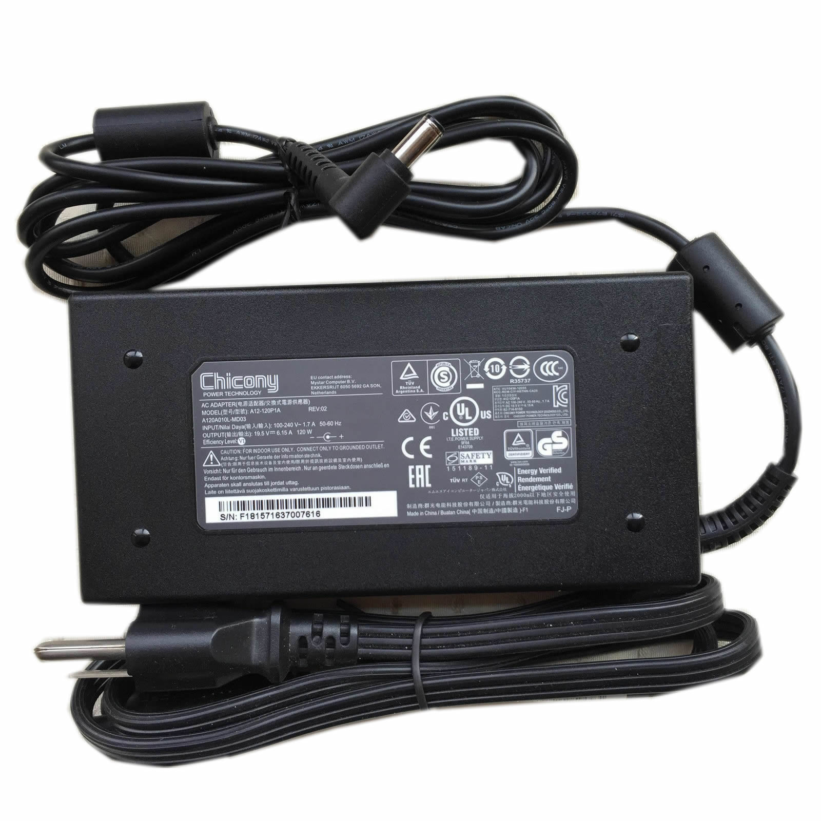 Chicony A12-120P1A A120A010L ADP-120MH D adaptateur chargeur 19.5V 6.15A 120W alimentation originale pour MSI GE70 Apache Pro-247 GE60 GE70 GP70 Gaming Notebook séries