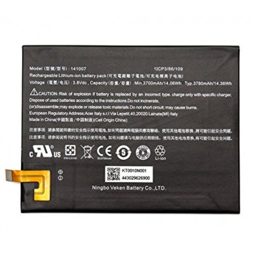 Batterie originale Acer 141007, KT.0010N.001 3.8V 3780mAh pour ordinateur portable ACER Iconia Talk S A1-724