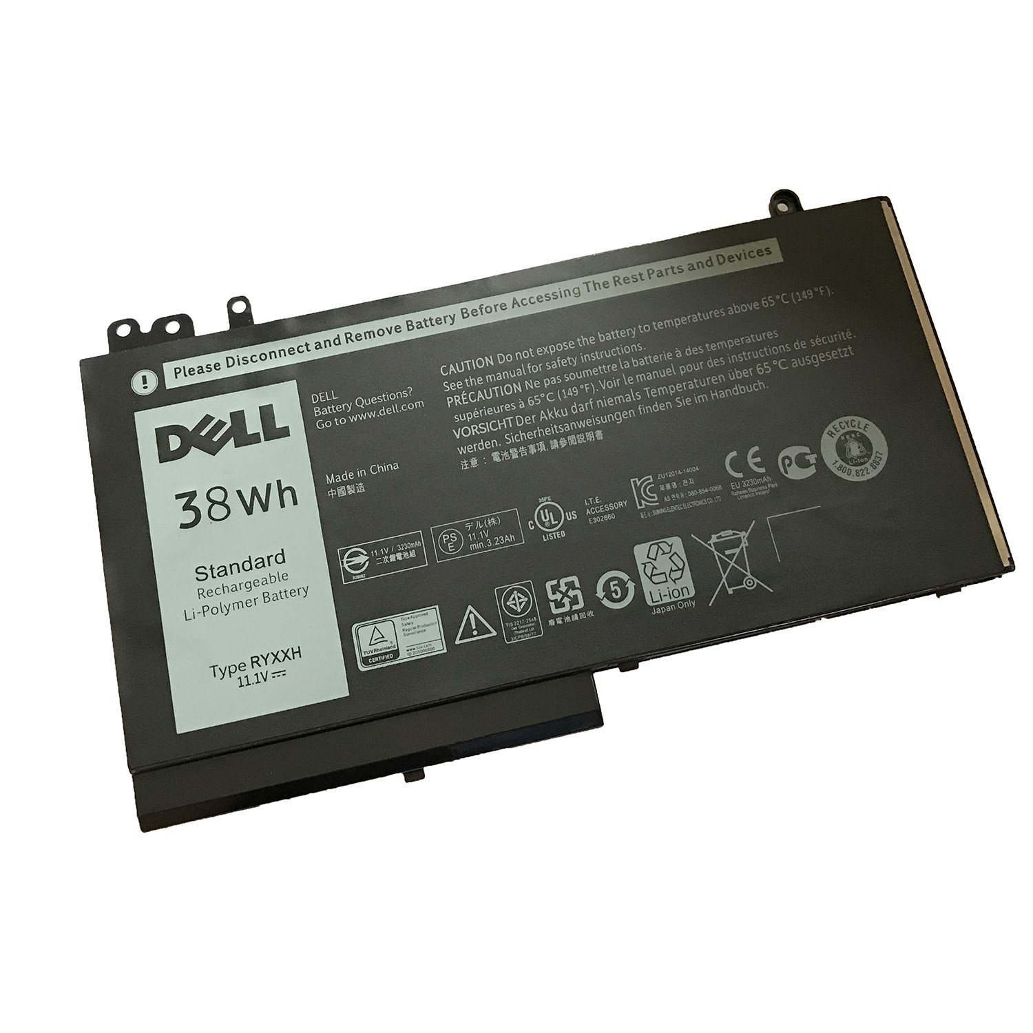 Batterie originale Dell RYXXH, 0VY9ND, 9P4D2, R5MD0 11.1V 38Wh pour ordinateur portable Dell E3150, Latitude 12 5000 séries