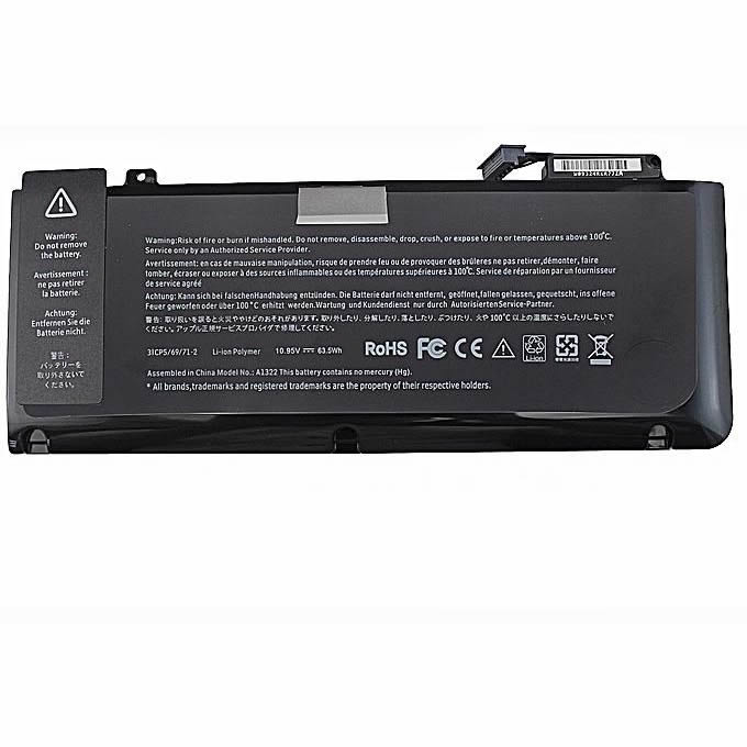 Batterie originale Apple A1322 10.95V 63.5Wh pour ordinateur portable Apple MB990LL/A MB990TA/A MacBook Pro 13 pouces séries