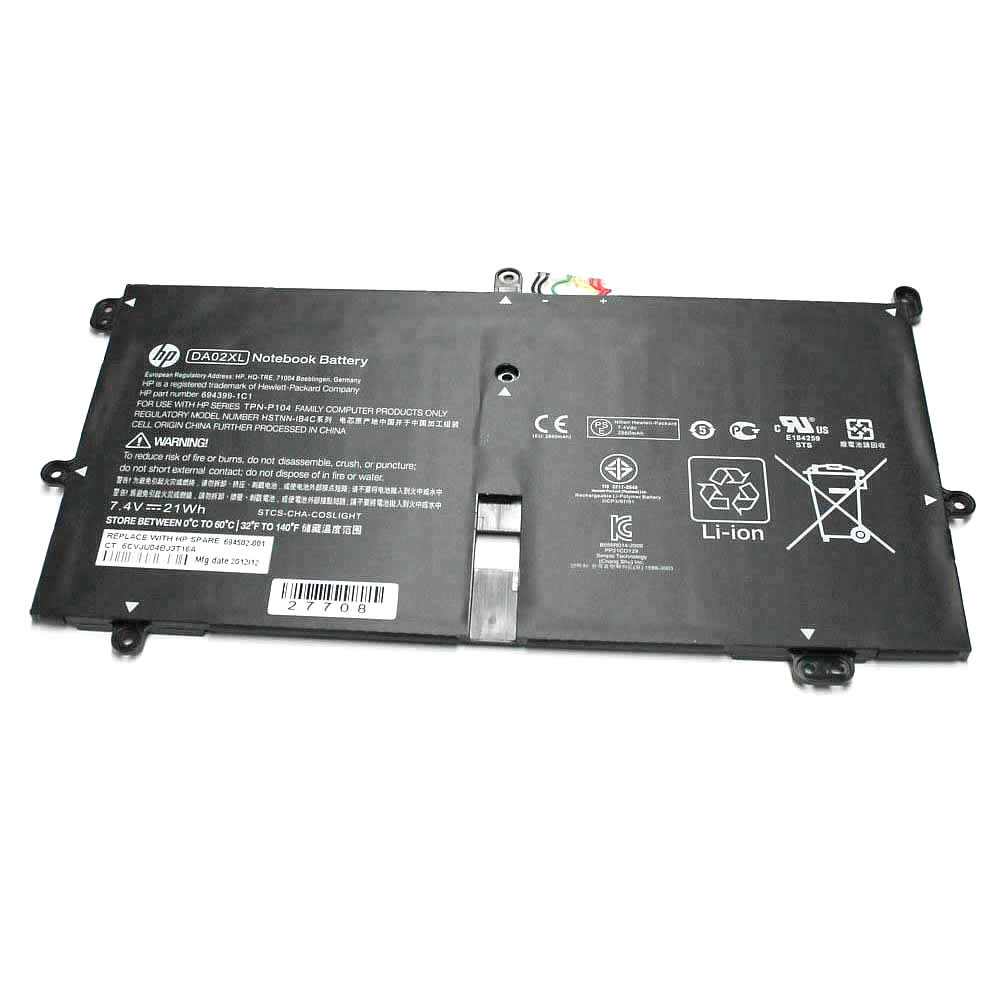 Batterie originale HP DA02XL HSTNN-IB4C TPN-P104 664399-1C1 7.4V 21Wh pour ordinateur portable HP Envy X2, Hip envy séries