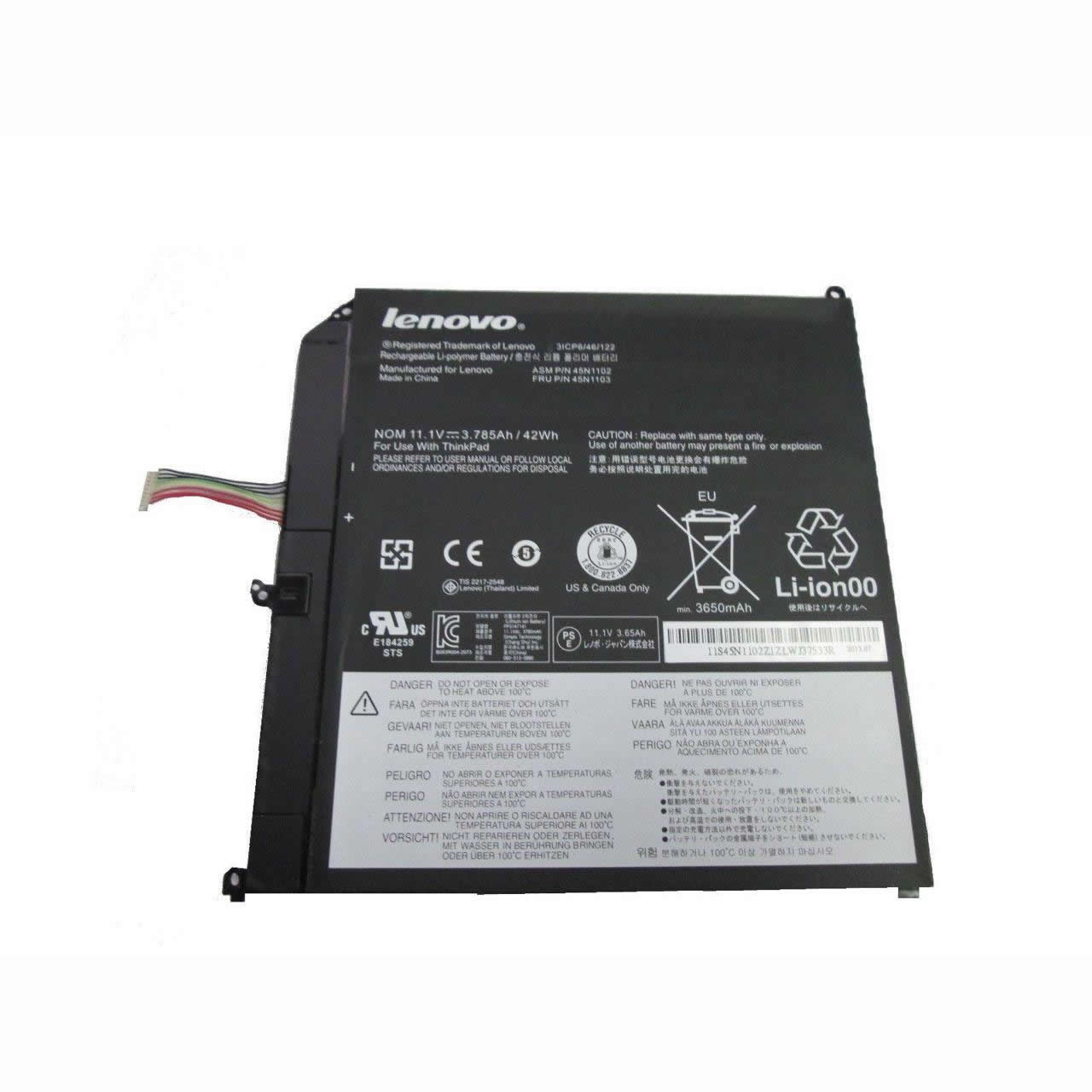 Batterie originale Lenovo 42T4966 7.4V 25Wh, 3.25Ah pour ordinateur portable Lenovo THINKPAD Tablet 1 1838 10.1INséries