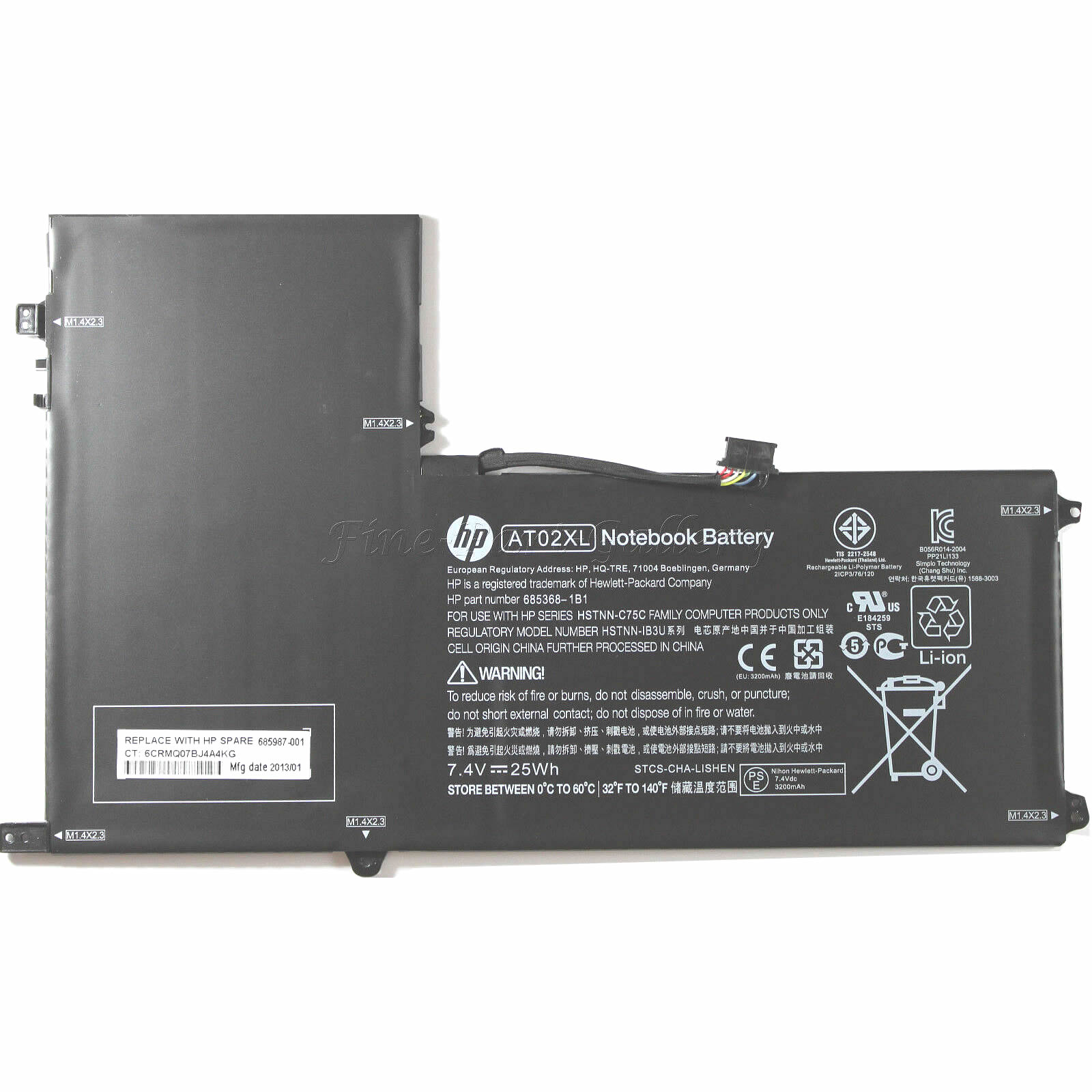 HP HSTNN-C75C AO02XL 2ICP4-74/120 batterie originale 7.4V 3995mAh,31Wh pour ordinateur portable HP ElitePad 1000 G2 J4M73PA, ElitePad 1000 G2 E4S57AV séries