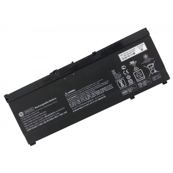 Batterie originale HP SR04XL 917724-855 TPN-C133 15.4V 4550mAh, 70.07Wh pour ordinateur portable HP Omen 15-CE000UR, Pavilion Power 15-CB003NB séries