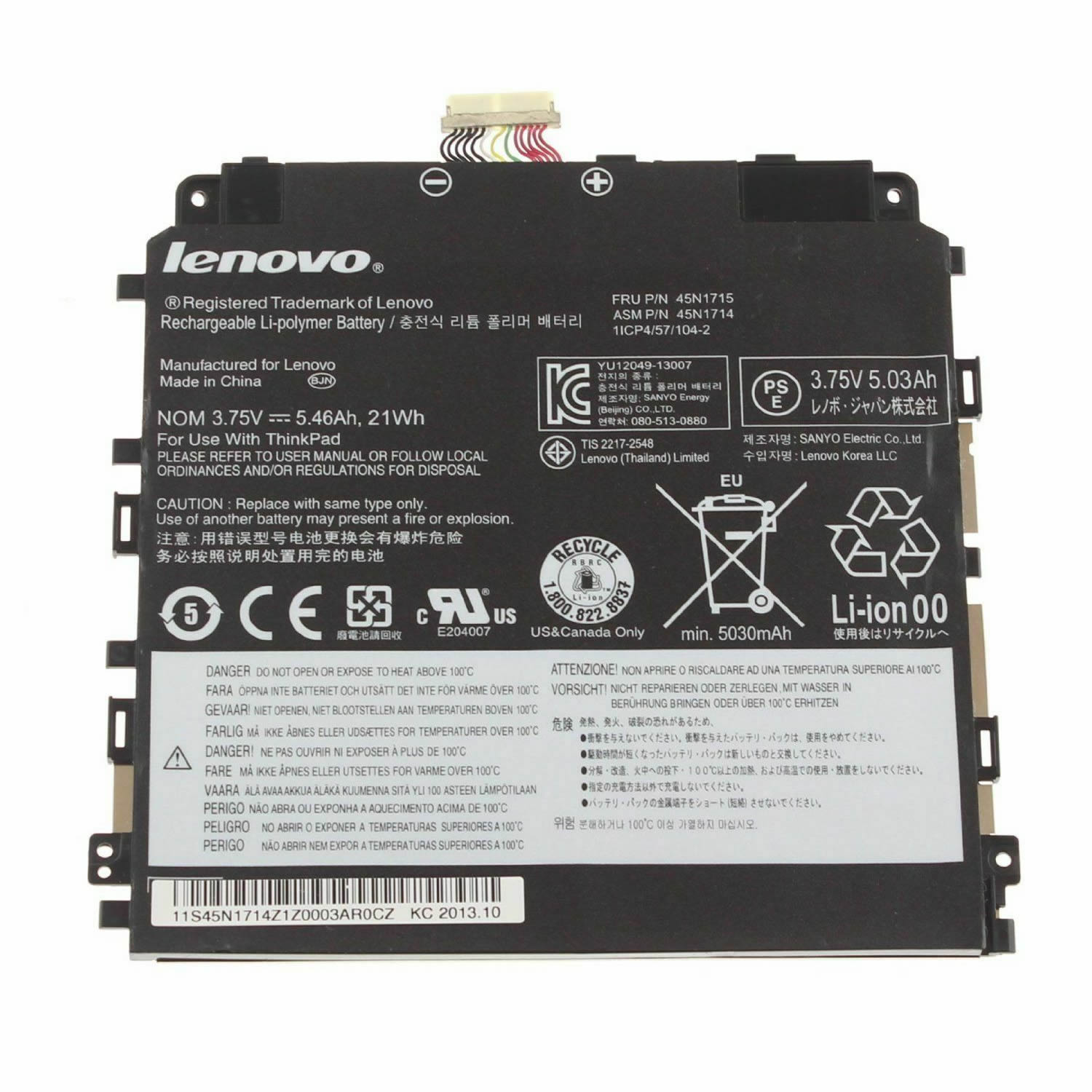 Lenovo 45N1714 45N1717 45N1718 batterie originale 3.75V 5460mAh, 21Wh pour ordinateur portable Lenovo Thinkpad 8 séries