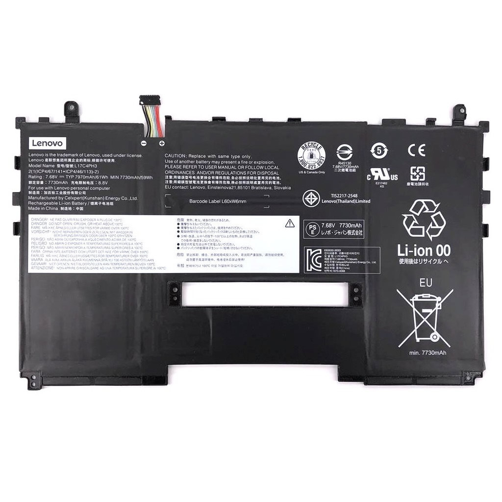 Batterie originale Lenovo L17C4PH3 5B10R37085 7.68V 7970mAh, 61Wh pour ordinateur portable Lenovo yoga x630 séries