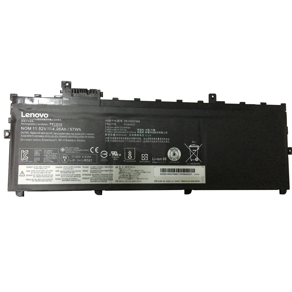 Batterie originale Lenovo SB10K97588, 01AV431 SB10K97586 11.52V 4950mAh, 57Wh pour ordinateur portable Lenovo ThinkPad X1 Carbon 2018, ThinkPad X1 Carbon G6-20KH006MGE séries