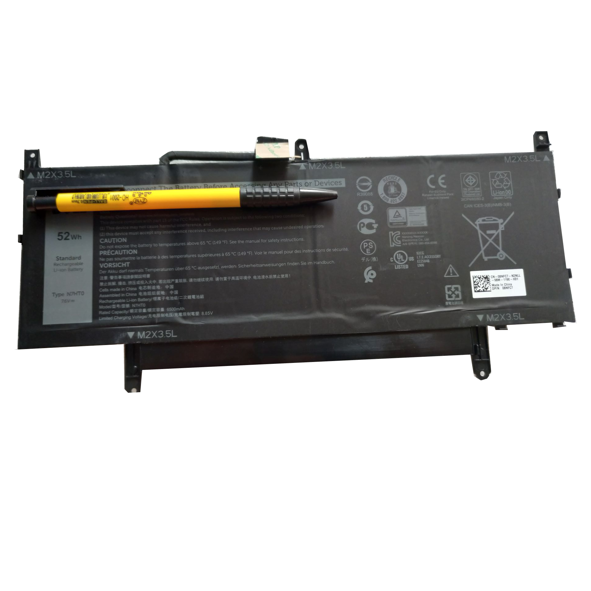 Batterie originale Dell 08NFC7 N7HT0 N7HTO 7.6V 6840mAh, 52Wh pour ordinateur portable Dell N7HTO 08NFC7 séries