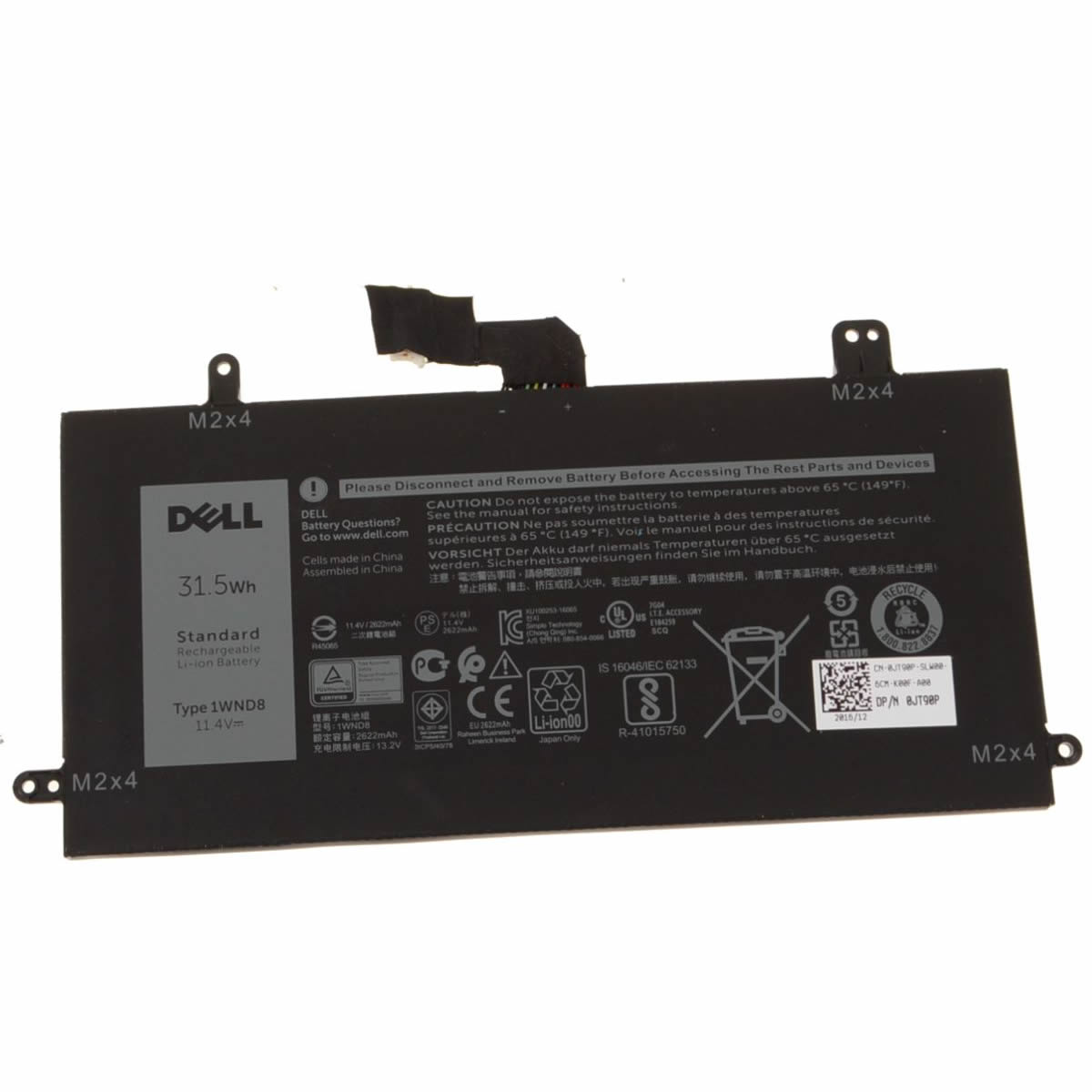 Batterie originale Dell 1WND8 11.4V 2622mAh, 31.5Wh pour ordinateur portable Dell Latitude 5285, Latitude 12 5285 séries