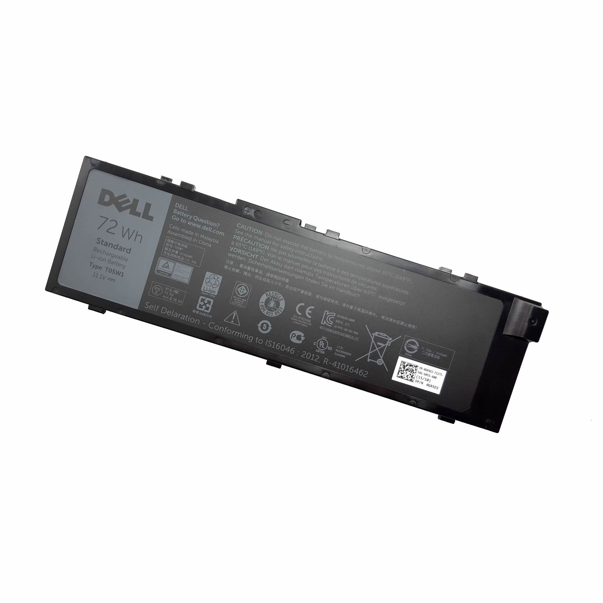 Dell T05W1 MFKVP 451-BBSB batterie originale 11.1V 6486mAh, 72Wh pour ordinateur portable Dell Precision 15 7520, Precision 7520 séries