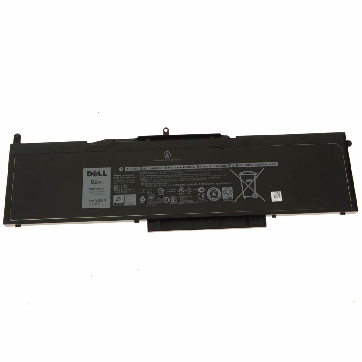 Dell VG93N WFWKK NY5PG batterie originale 11.4V 7666mAh, 92Wh pour ordinateur portable Dell Latitude 5580, Precision 15 3520 séries