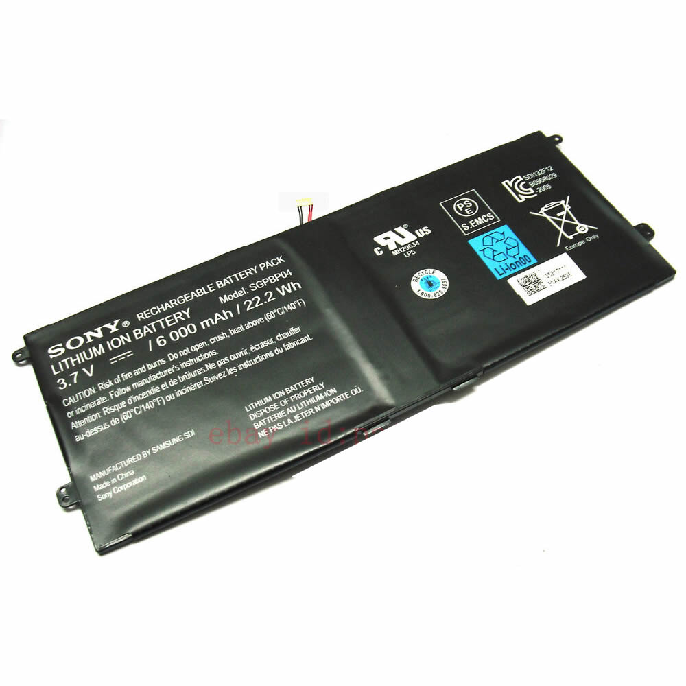 Sony SGPBP04 batterie originale 3.7V 6000mAh, 22.2Wh pour ordinateur portable Sony Xperia Tablet Z, Xperia Tablet S séries