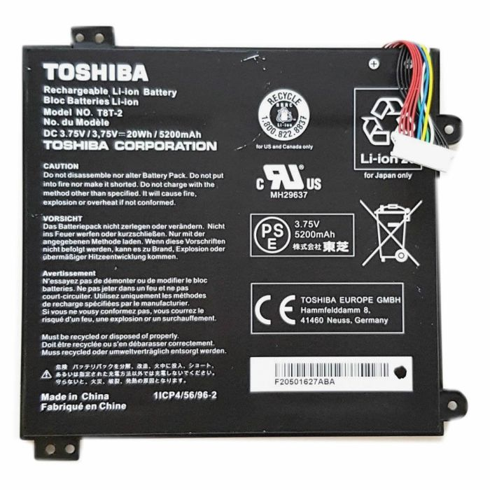 Toshiba T8T-2 A000381560 batterie originale 5200mAh pour ordinateur portable Toshiba Satellite Click Mini L9W-B séries